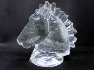 Horse head glass sculpture by Stig A. Karrstrand for Pukeberg