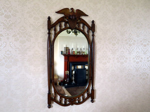Wood-effect metal American Eagle mirror by Sexton