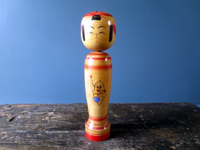 Kokeshi doll - Sakunami with modern mascot image - medium (26cm)