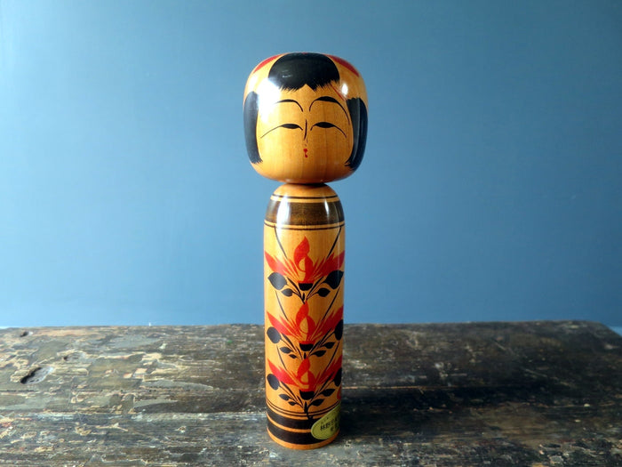 Kokeshi doll - Togatta with original stickers - medium (26cm)