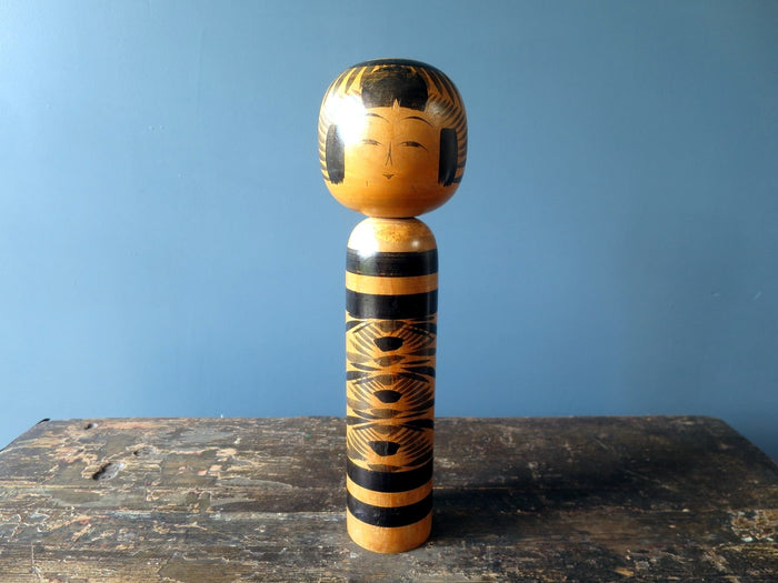 Kokeshi doll - Togatta with chrysanthemum pattern - large (30cm)