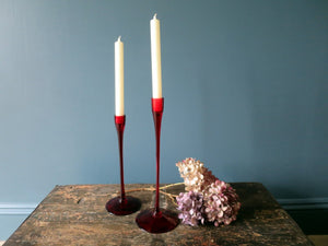 Pair of handmade red glass candlesticks
