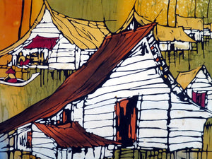 Malaysian batik painting of fishing village on silk canvas