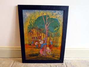 Malaysian batik painting of rubber plantation on silk canvas