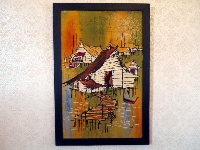 Colourful Malaysian batik painting of fishing village on silk canvas