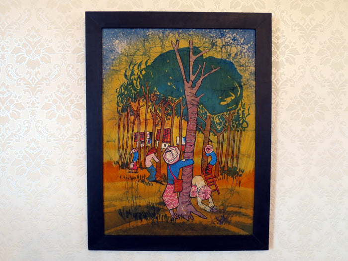 Colourful Malaysian batik painting of rubber plantation on silk canvas