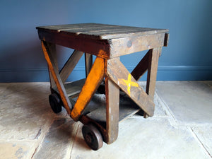 Early 1900s industrial car factory wooden trolley