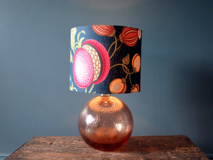Fantastic swirled design rose coloured glass lamp with shade