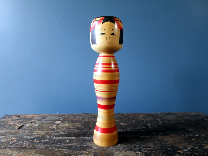 Kokeshi doll - Tsuchiyu with shapely colourful striped body - medium (26cm)