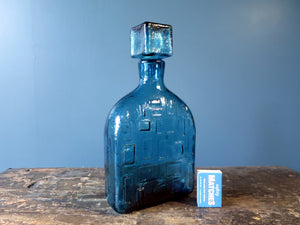 Cubist genie bottle decanter by Rossini in blue Empoli glass