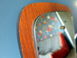 Vintage Danish-style tapered teak mirror