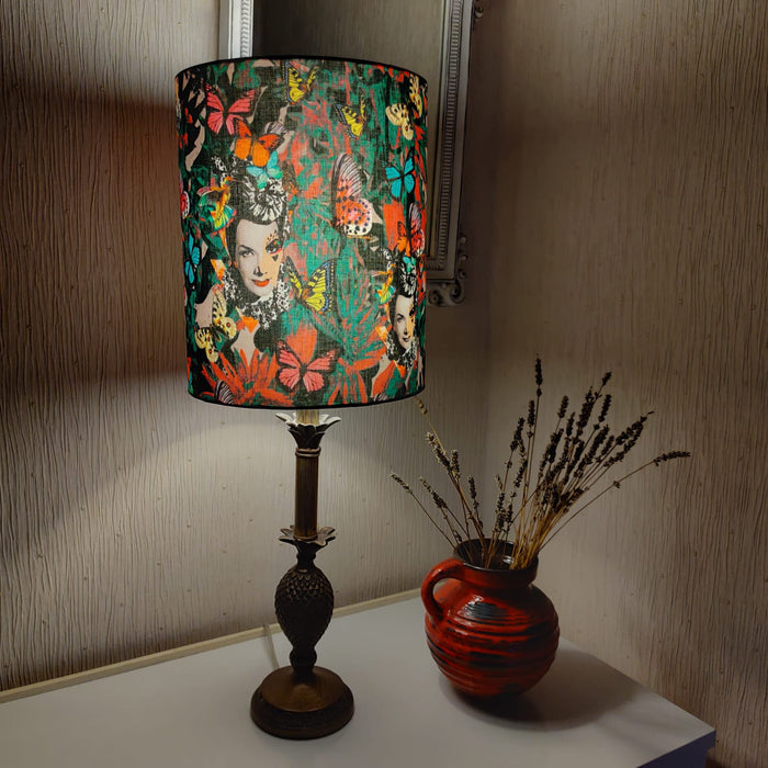 Lampshade - tall lamp style made from retro-style fabric