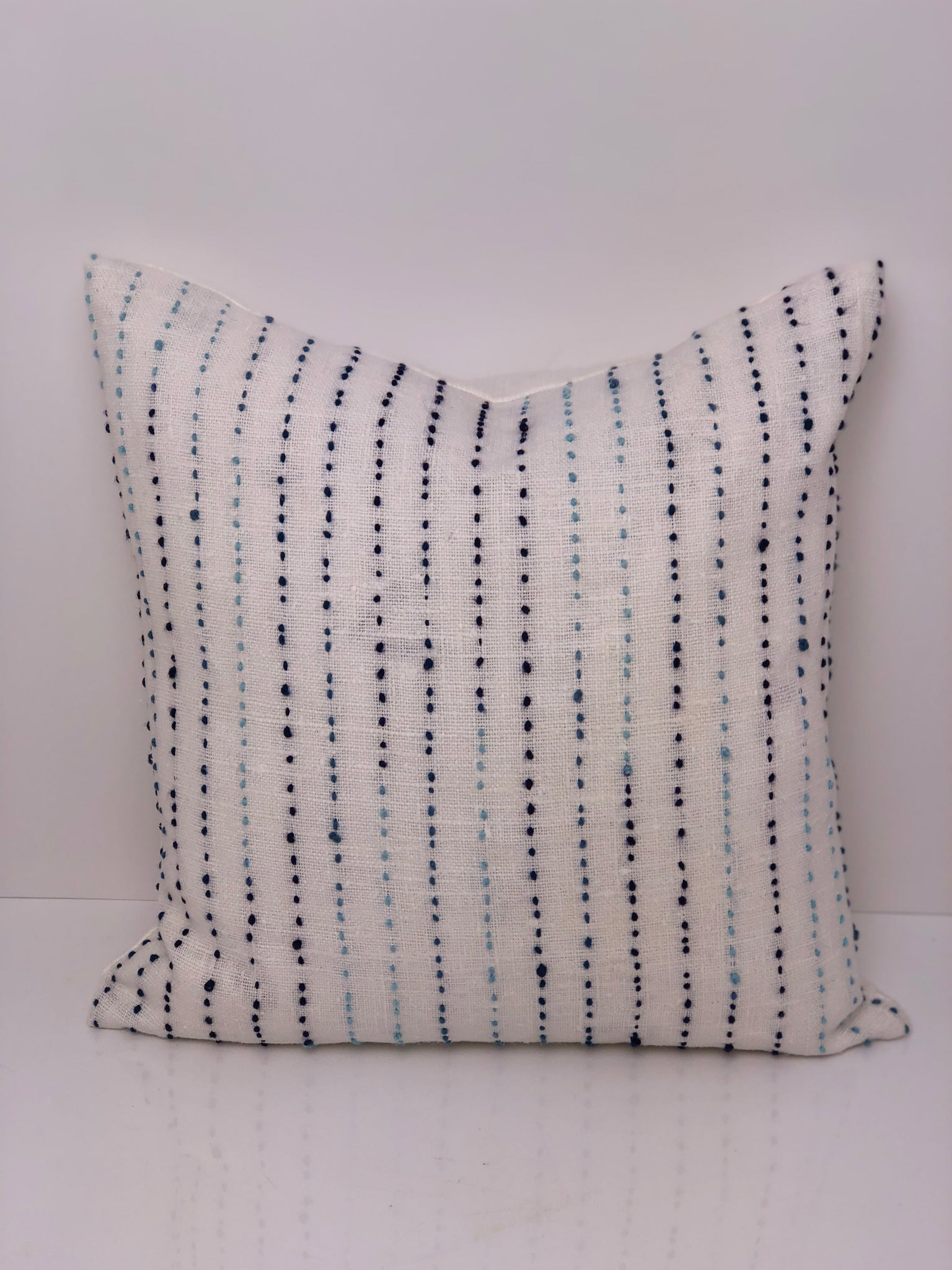 Taupe and White Stitched Pillow