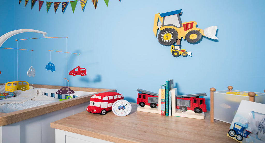 Transport themed accessories in a children's bedroom interior