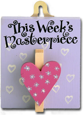 Children's pegboard 'This weeks masterpiece' to hang notes or drawings