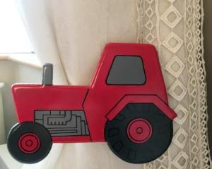 childrens wooden red tractor curtain tie backs