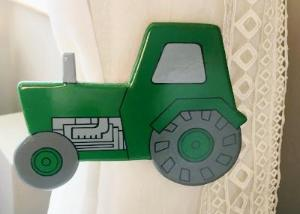 childrens wooden green tractor curtain tie backs