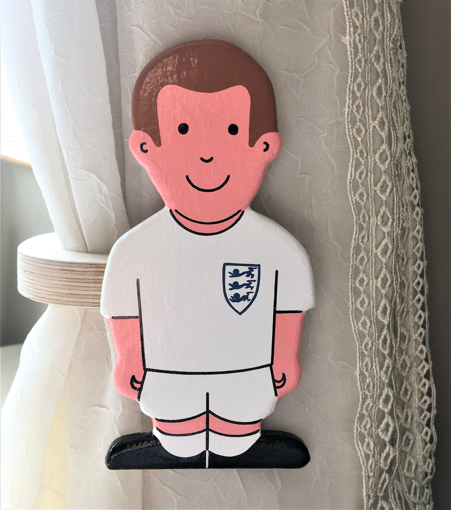 childrens wooden footballers curtain tie backs