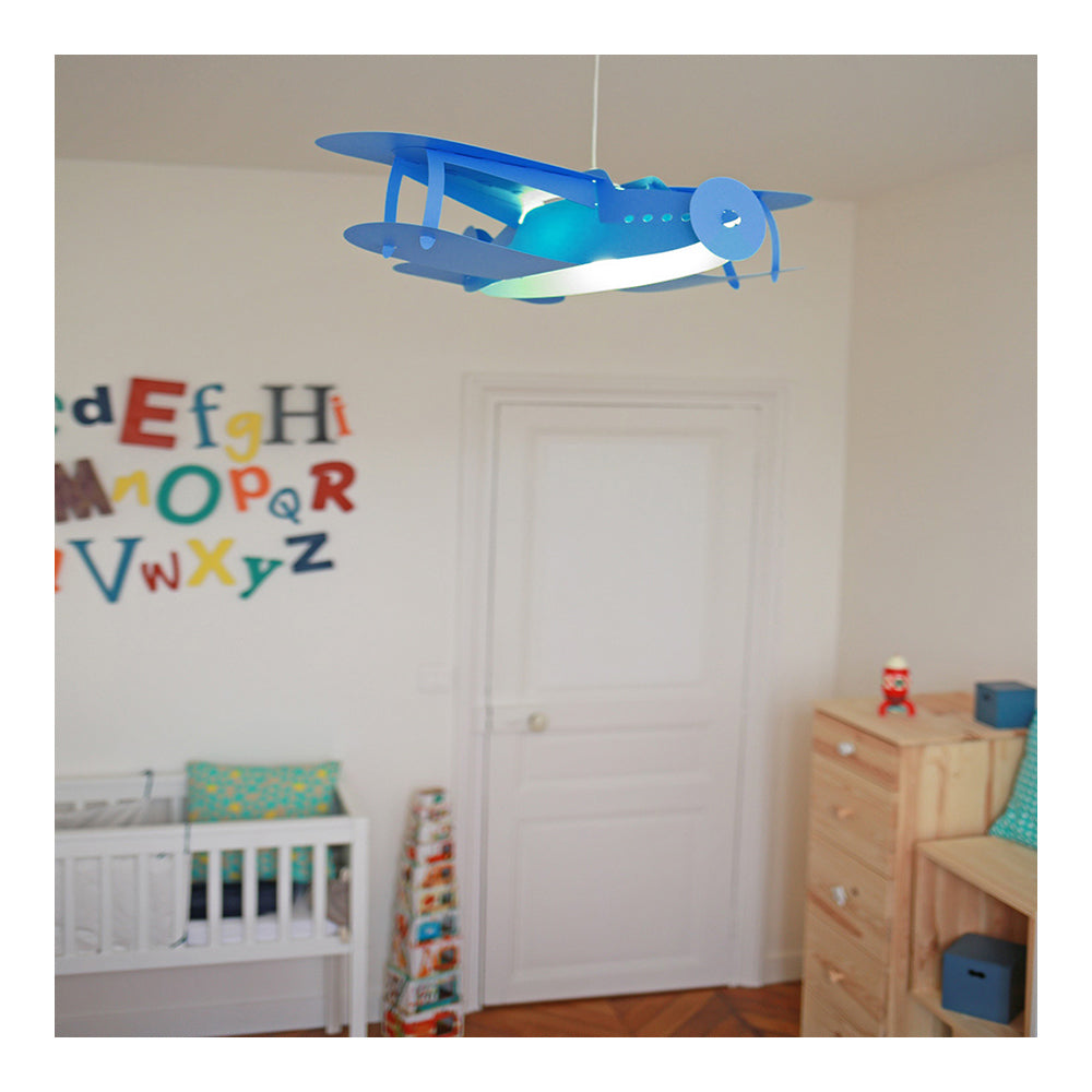 childrens blue aeroplane pendant ceiling lamp