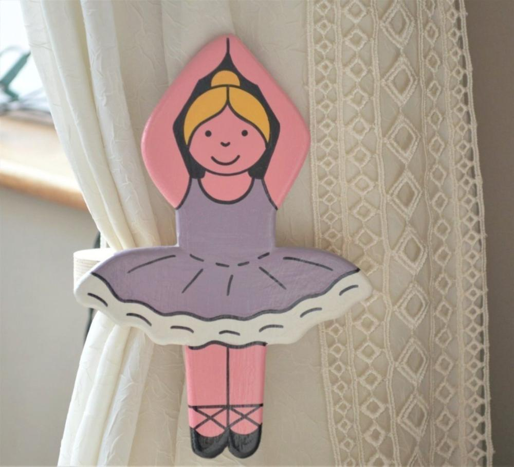 childrens wooden ballerina curtain tie backs