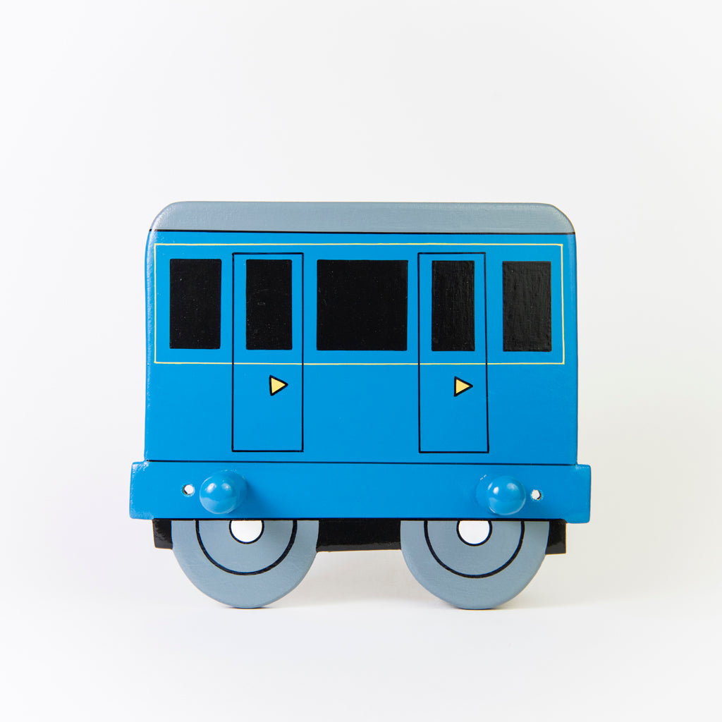 children's blue train and coach coat wall hooks