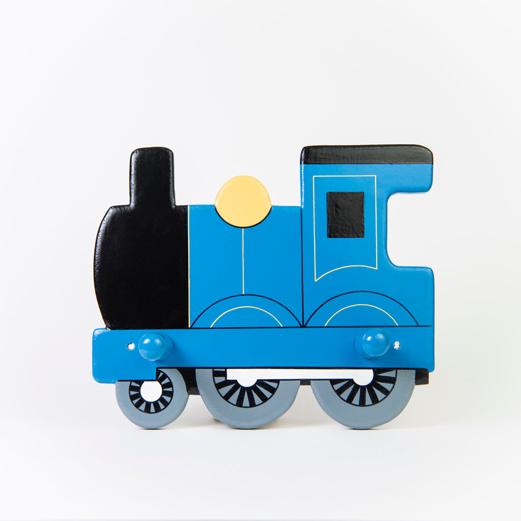 childrnen's blue train and coat wall coat hooks