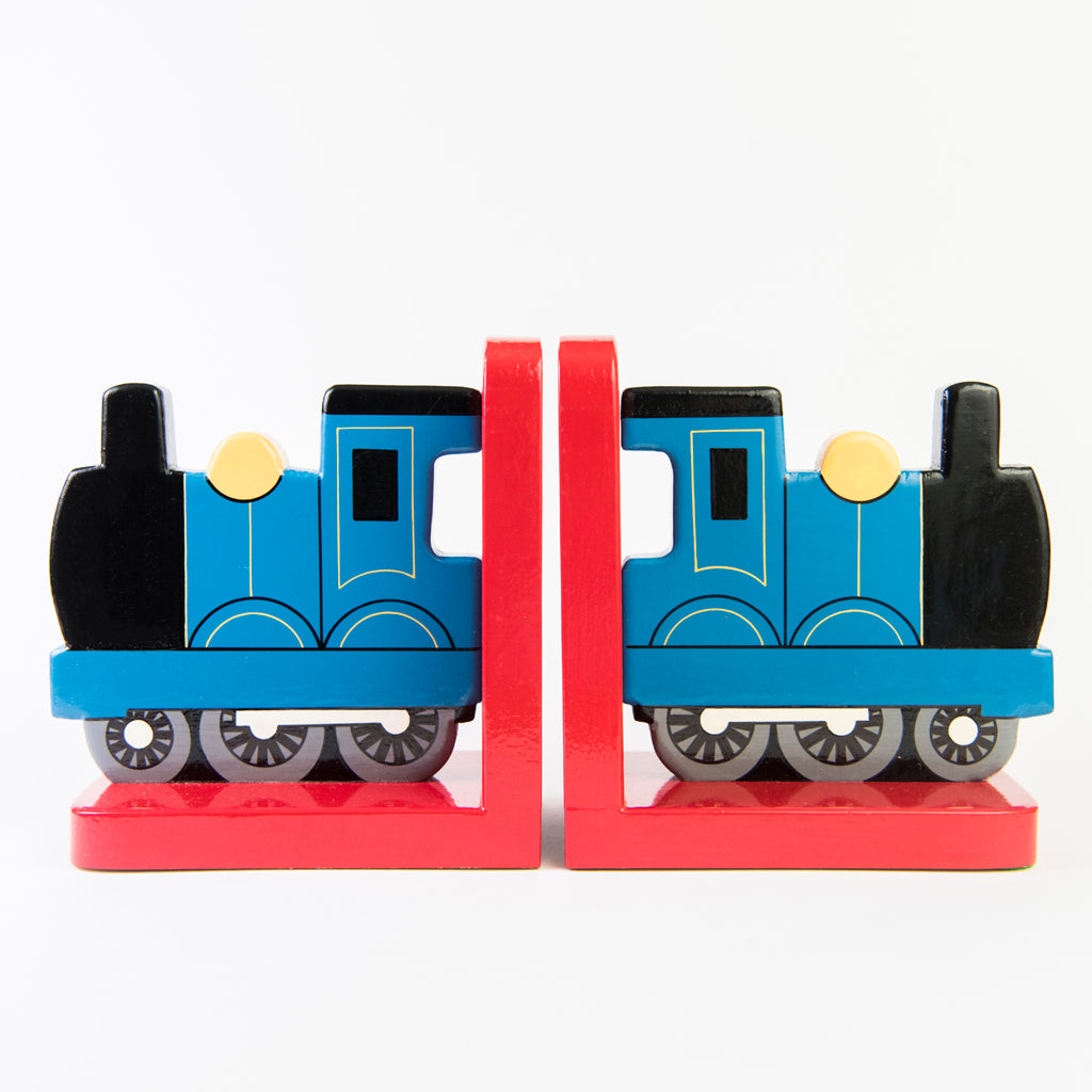 children's blue train bookends