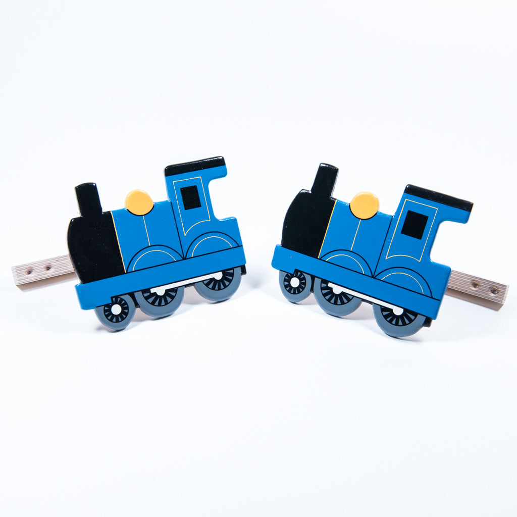 children's wooden blue train curtain tie backs