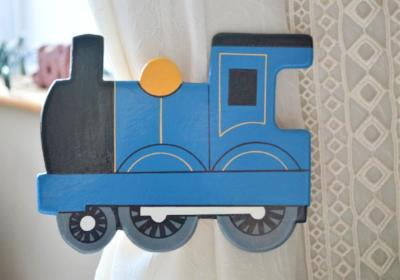 childrens wooden blue train curtain tie backs