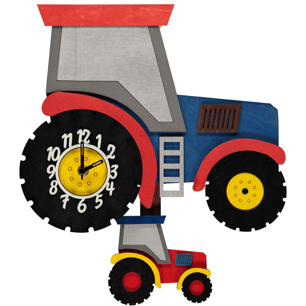 childrens blue tractor pendulum clock