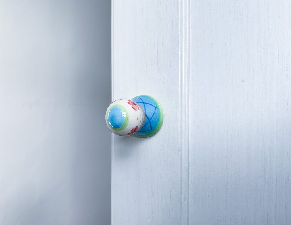 Green & Blue Ceramic Door / Drawer Knob