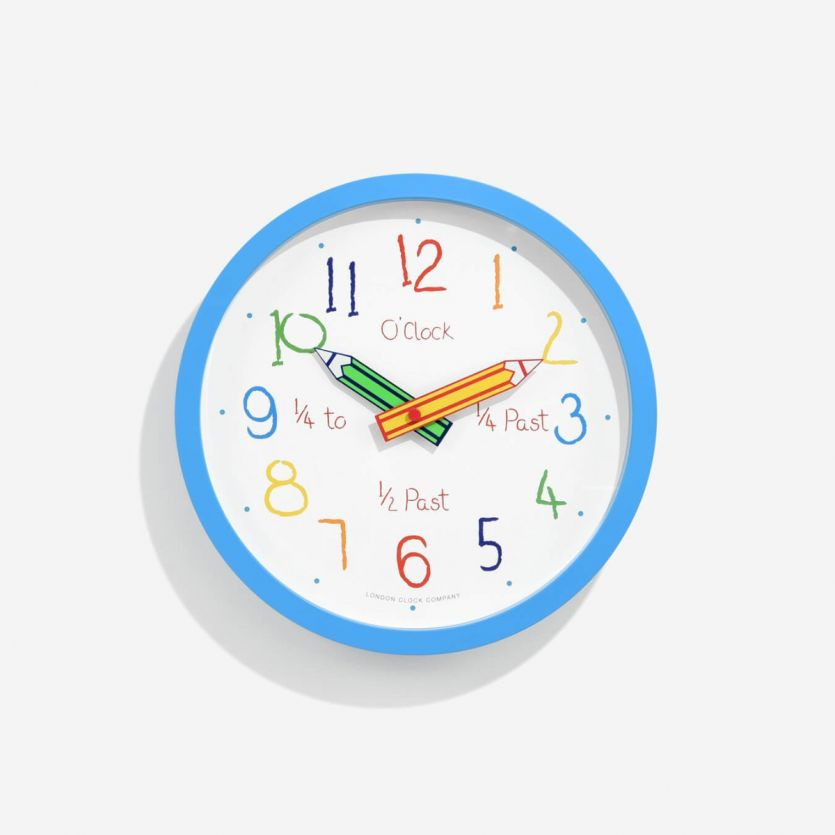 childrens blue pencils wall clock