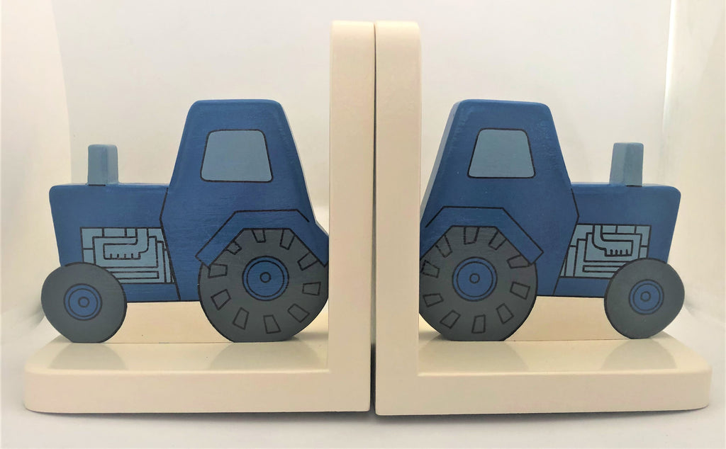 childrens blue tractor bookends