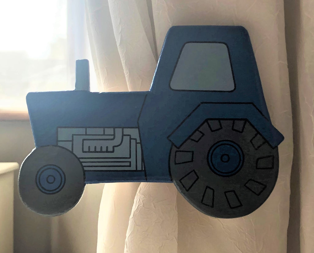 childrens blue tractor curtain tie backs