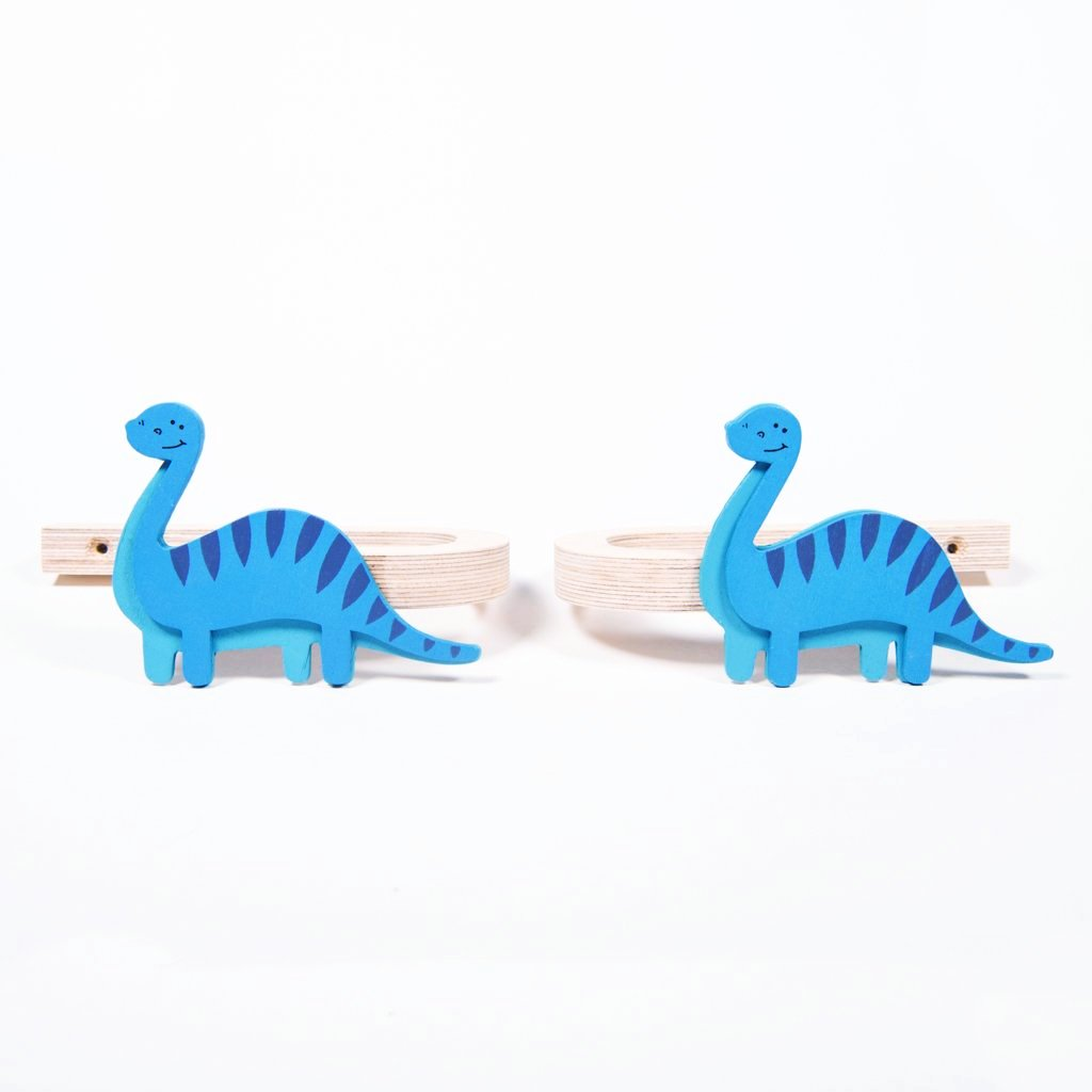 childrens wooden brontosaurus dinosaur curtain tie backs