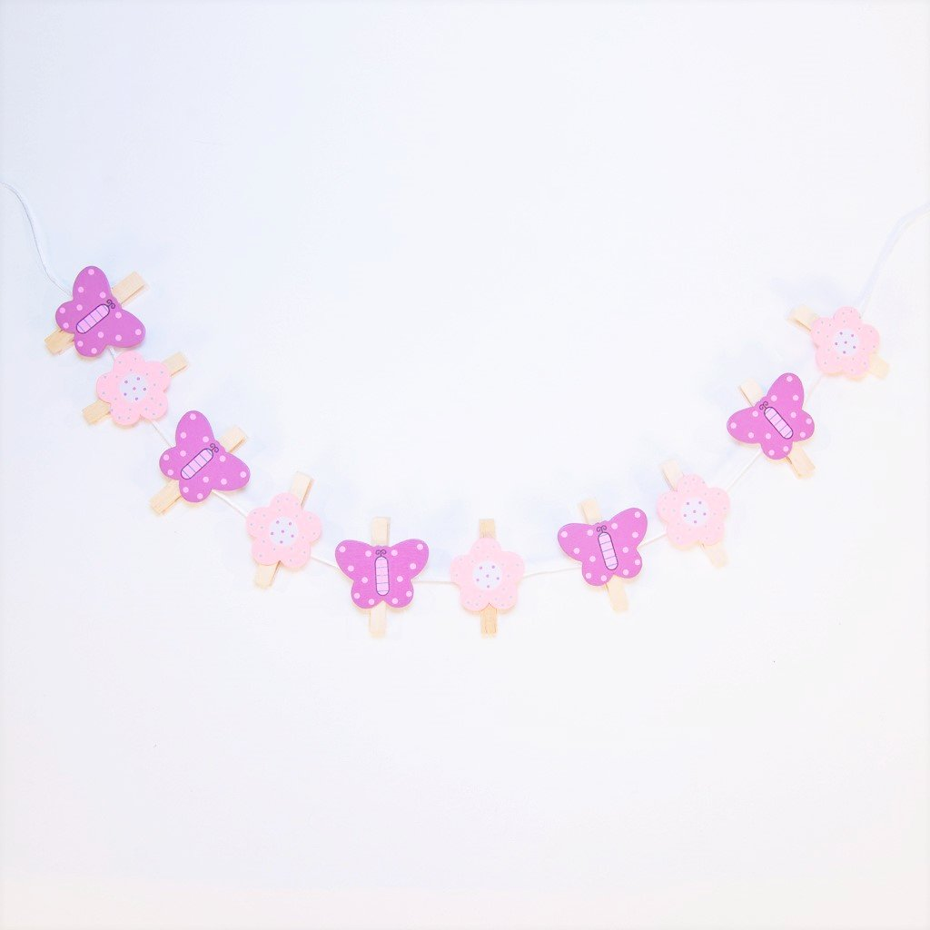 childrens butterfly and flower string of pegs