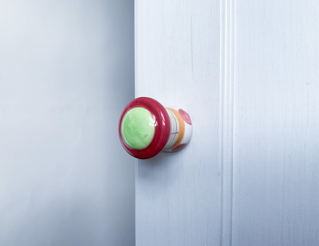 Pink & Green Ceramic Door / Drawer Knob