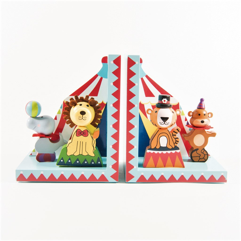 children's wooden circus bookends