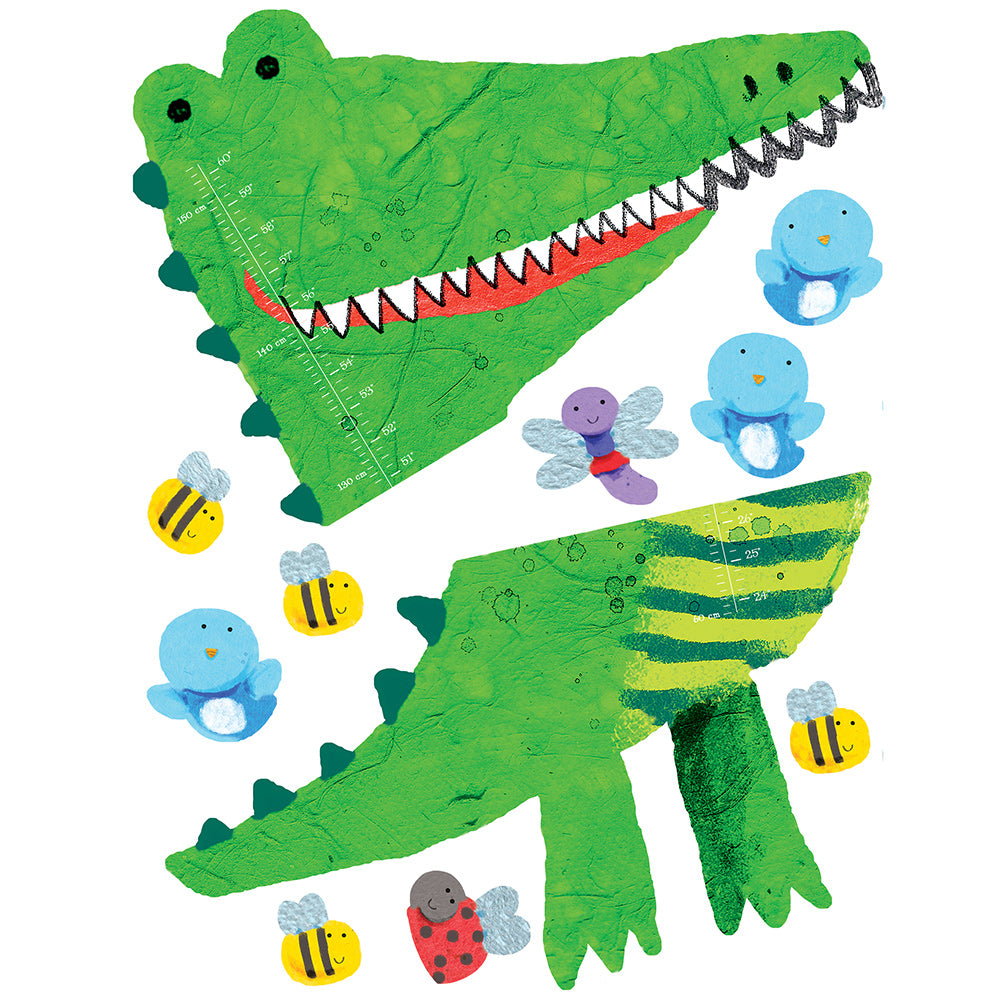 children's jungle crocodile height chart wall stickers