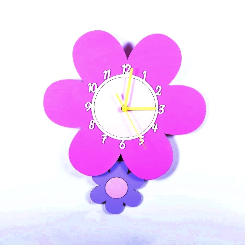 children's daisy flower pendulum wall clock