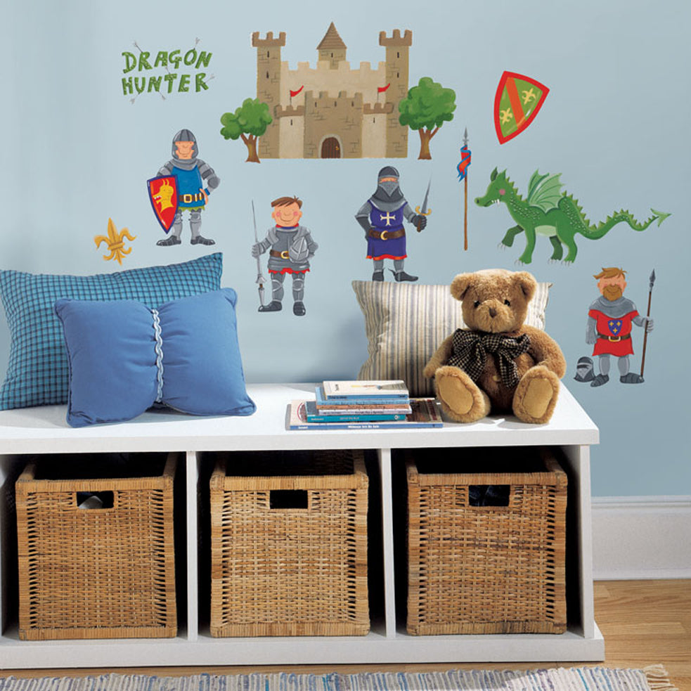 children's knights and dragons wall stickers