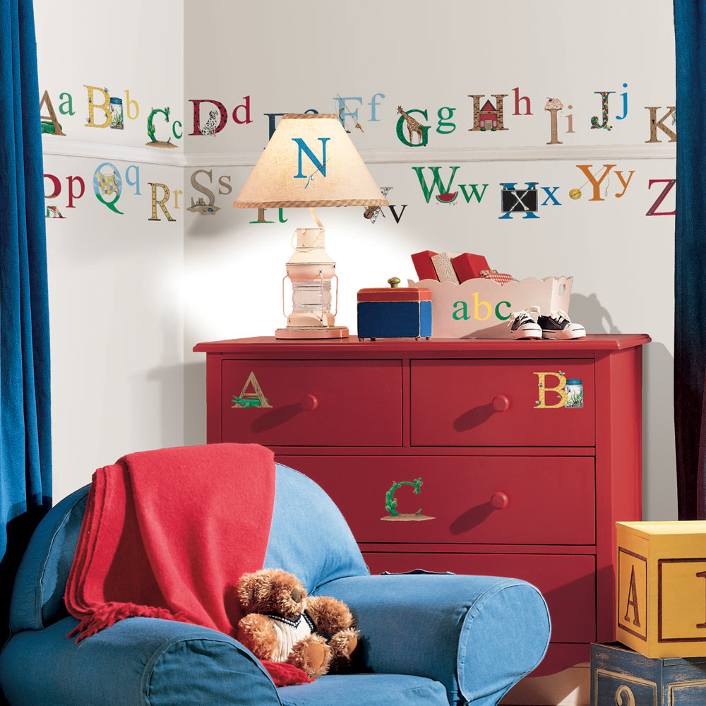 children's education station alphabet wall stickers
