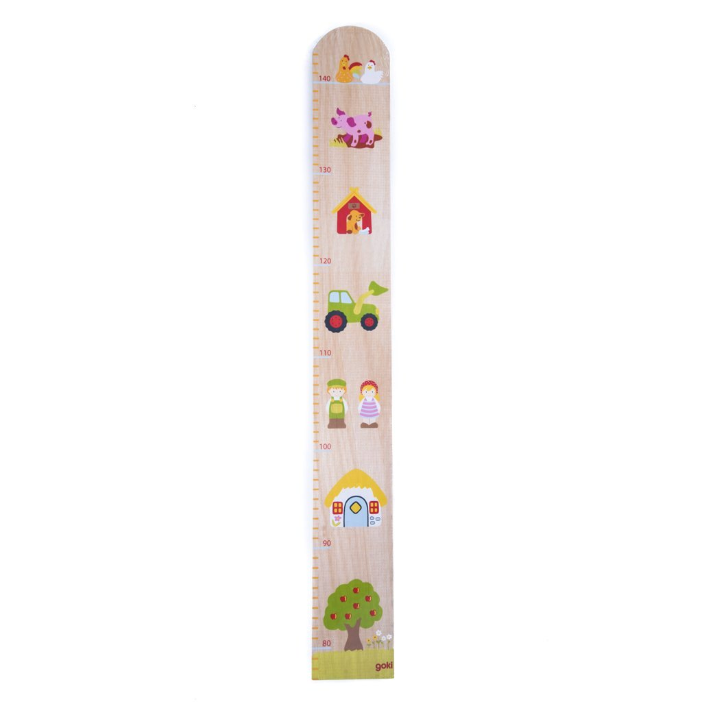 children's wooden farmyard height chart