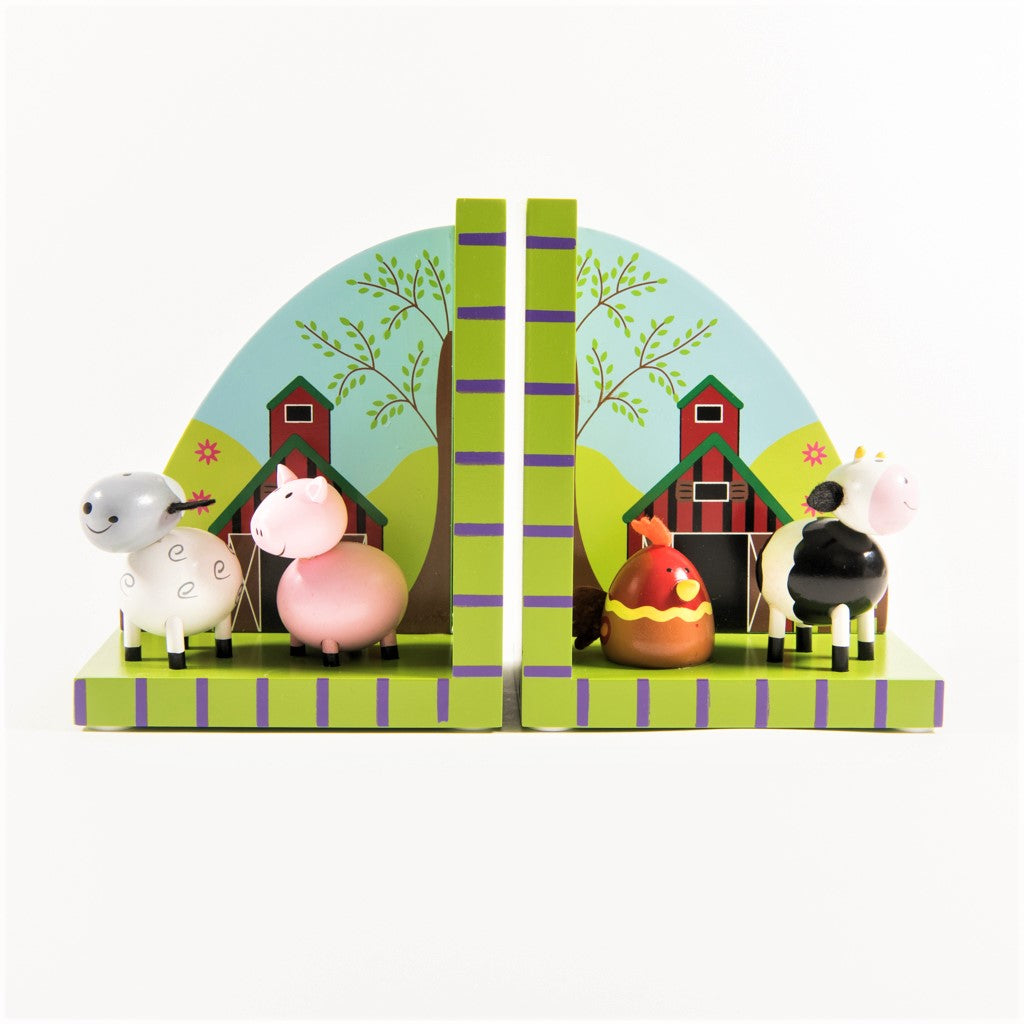 children's wooden farmyard bookends