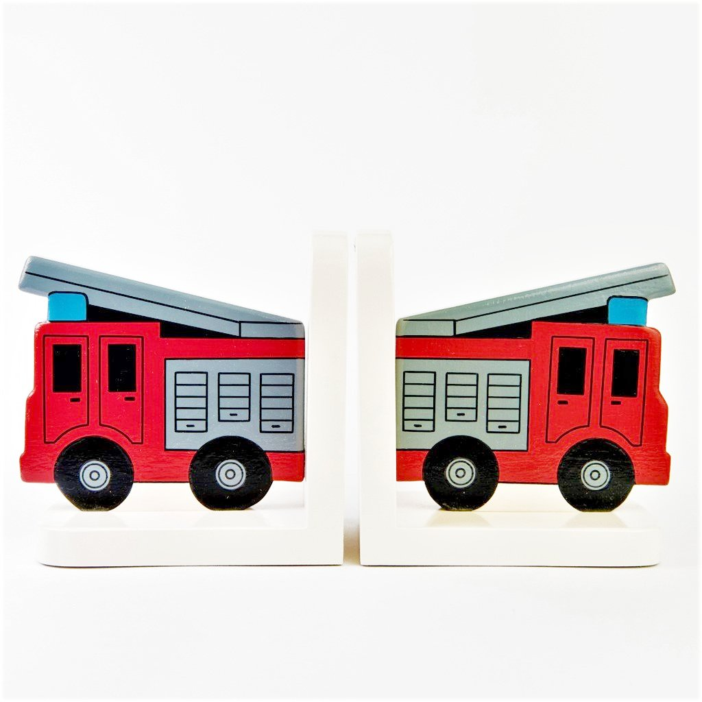 children's fire engine bookends