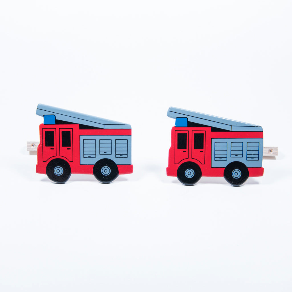 children's wooden red fire engine curtain tie backs