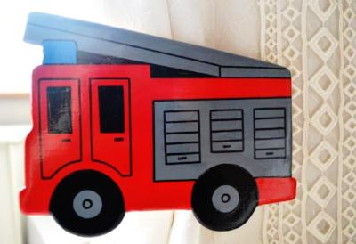 Childrens wooden red fire engine curtain tie backs