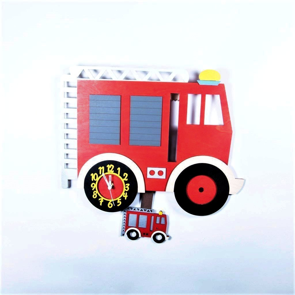 children's fire engine pendulum wall clock