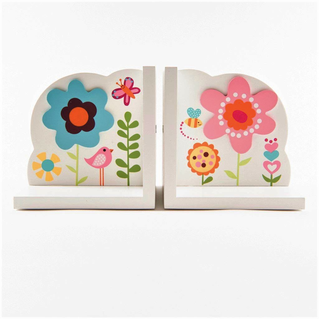 children's wooden flower bookends
