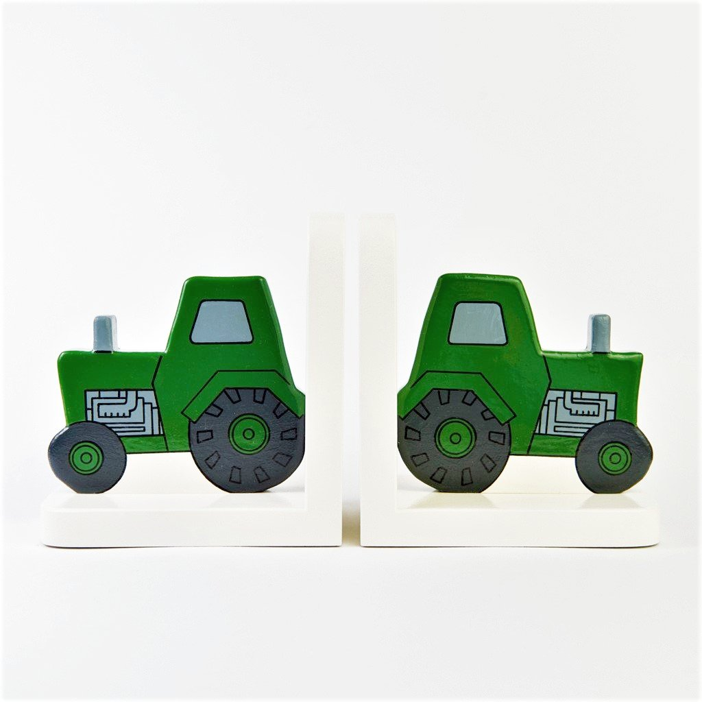 childrens wooden green tractor bookends